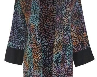 Kimono Jacket Plus Size | Women's Oversized Kimono Cardigan | Plus Size Duster Clothing, One Plus Size | Batik Kimono Jacket 1x/2x