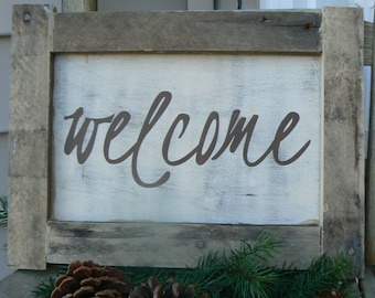 Welcome Sign - Framed in reclaimed wood - HAND PAINTED Rustic Door Sign