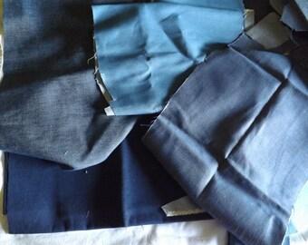 Blue Denim Remnants, Cotton Denim Scraps, Lot of 2.5 Pounds, New Fabric, Craft & Tote Fabric, Medium to Heavy Weight, Vintage Denim Scraps