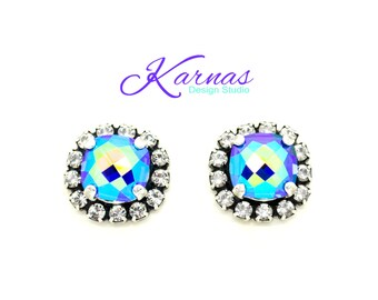 BLUE LAGOON 8mm Classical Crystal Halo Stud Earrings Swarovski Elements *Antique Silver *Karnas Design Studio *Free Shipping*