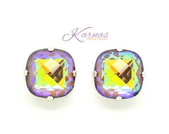FROSTED CHOCOLATE 16mm Crystal Stud or Post Earrings Made With Swarovski Elements *Pick Your Finish *Karnas Design Studio *Free Shipping*