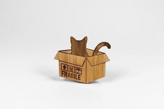 cat in brown box bamboo jewelry pin