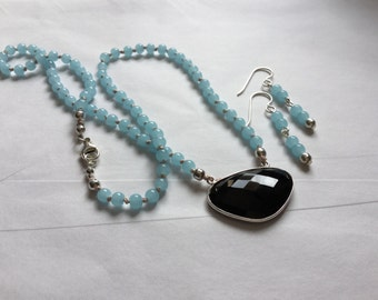 Aqua Quartz & Black Onyx Set, Hand Knotted On Silk
