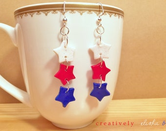 Red White and Blue / Fourth of July / Patriotic / USA / Sparkly / Star Earrings / Dangle Earrings / Polymer Clay