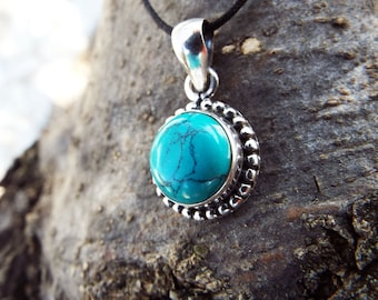Turquoise Pendant Silver Sterling Handmade 925 Gemstone Bohemian Antique Vintage Jewelry