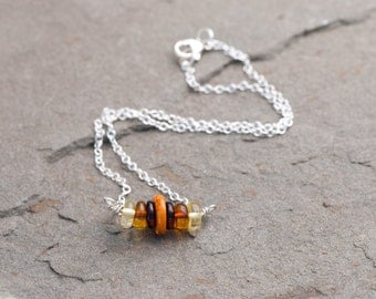 Natural Amber Necklace, Baltic Amber Bar Necklace, Honey Amber, Milky Amber, Four Varieties of Amber, Bar Necklace, 16 inch Short Necklace