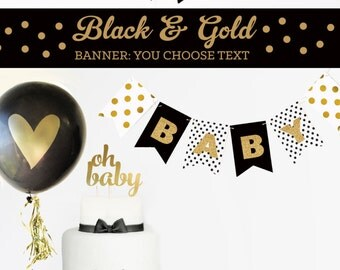 Black and Gold Baby Shower Decorations Black and White Baby Shower Elegant Baby Shower Black and Gold Oh Baby Baby Shower Banner (EB3062)