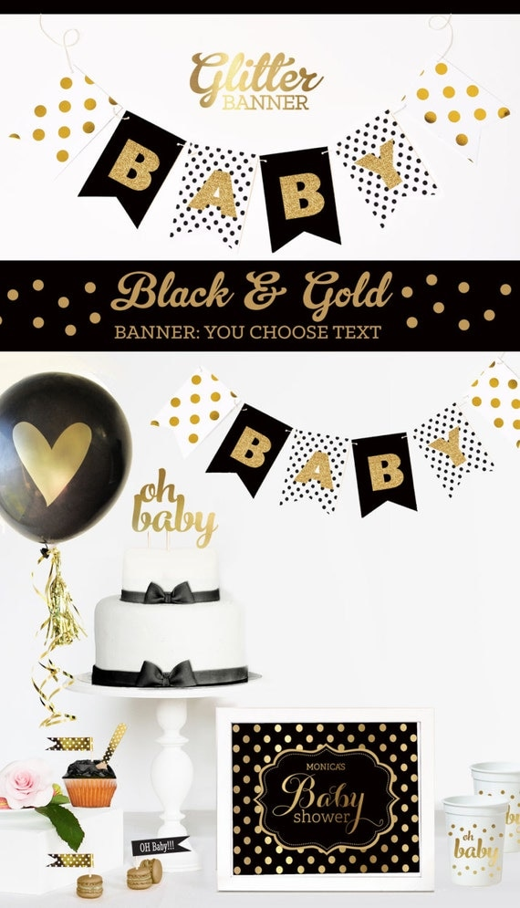 black and gold baby shower decorations black and white baby shower