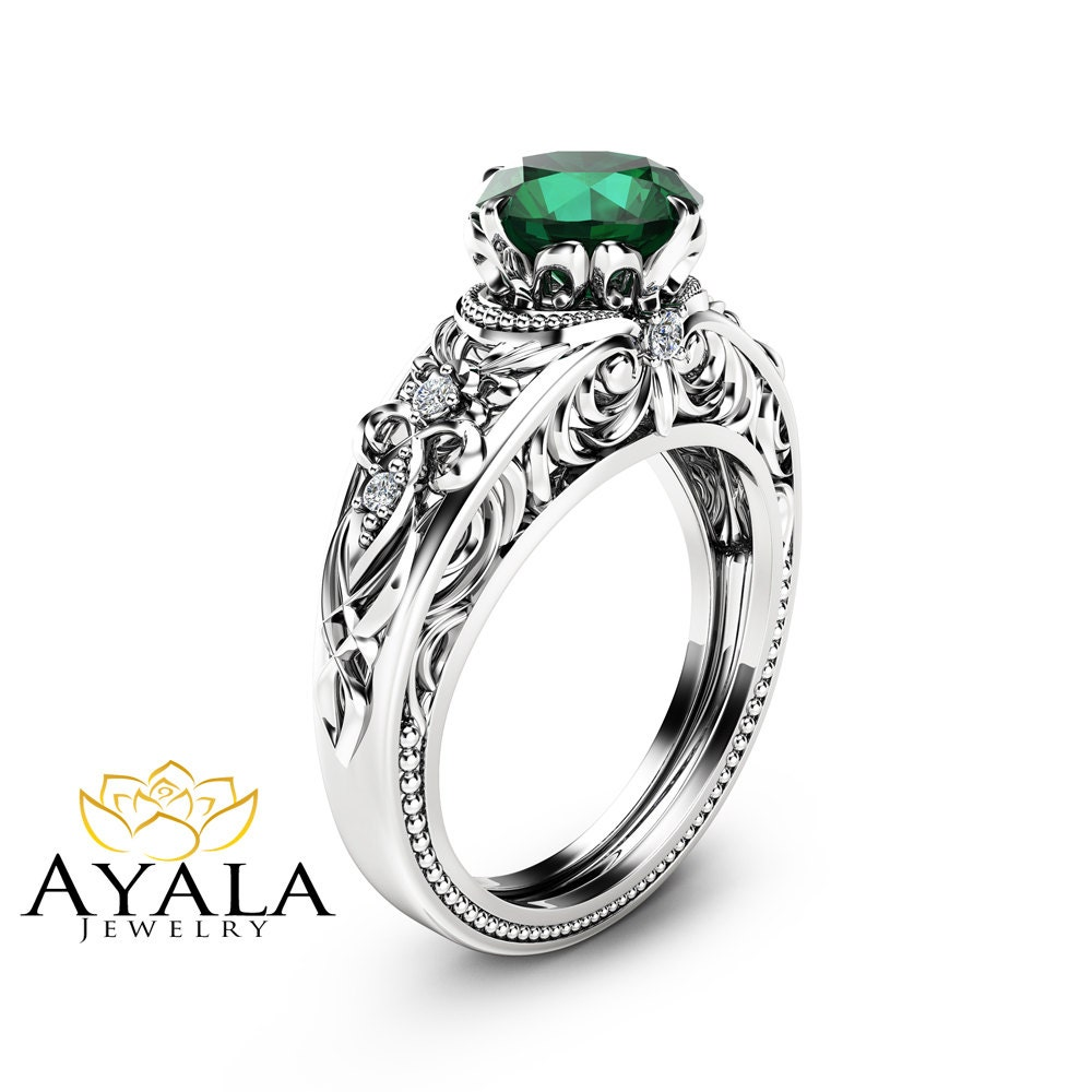 Emerald Vintage Engagement Ring Natural Emerald Custom Ring
