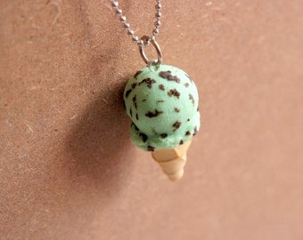 Ice Cream Cone Necklace, Mint Chip - Miniature Food Jewelry, Polymer Clay Food. Ice Cream Jewelry. Summer.