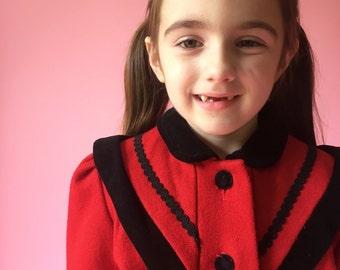 Vintage Red Velvet Trimmed Heavy Winter Coat (Size 4T)