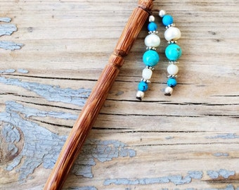 Natural stones Hair stick, Japanese Hair stick, wooden Hair pin, Ebony wood, natural Turquoise and pearls, zen gemstones, Hippie, Boho, gift
