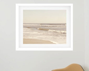 Nautical framed art, framed beach photography, extra large wall art, framed coastal print, tan white neutral sescape ocean framed wall art