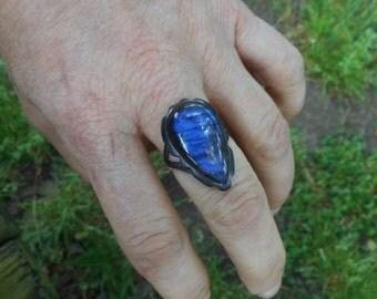 Labradorite ring, teardrop ring,oxidized silver ring,large labradorite rings, size 8 1/2 ring, labradorite jewelry, gemstone ring, blue ring