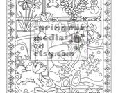 Christmas coloring page - Xmas Teddy Bear - Christmas Treats Holiday Coloring Book - Adult Coloring Page