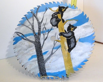 Vintage circular saw blade hand painted with Bear Cubs in a Tree.