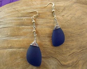Navy Blue Sea Glass Pierced Earrings/ Handmade/ Hand Crafted/ Beach Glass