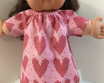 """Cabbage Patch KIDS 16 inch Doll Clothes, """"I LOVE My Dolly"""" Hearts, Xs and Os Peasant Dress, Fits 15 inch AG Bitty Baby Doll & Twin Doll Too"""