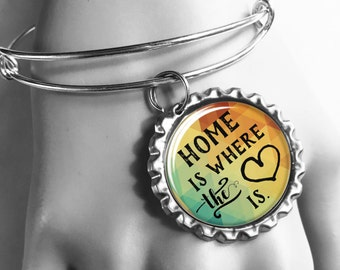 Housewarming Gift, Home Is Where The Heart Is, New Homeowners Gift, First Home Gift, Our First Home, Wedding Gift, Mantra Bracelet, Bangles