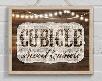 Office Decor, Cubicle Decor, Office Wall Art, Office Sign, Cubicle Sweet Cubicle, Workspace Work Print, Office Print, Rustic Home Office