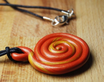Bead Pendant - Autumn Colours - Bead Necklace - Polymer Clay Pendant - Gift For Her - Swirl Necklace - Bohemian Necklace - Gift For Mum -
