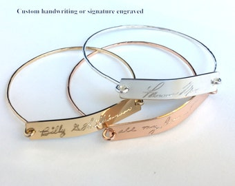Actual Handwritten Bracelet  Custom Handwriting Bangle / Signature Bracelet / Personalized engraved bracelet / Memorial handwriting jewelry