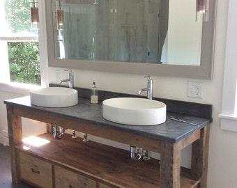 rustic vanity reclaimed barn wood vanity farmhouse style
