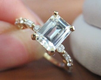 Emerald Cut Moissanite and Diamond Engagement Ring