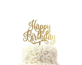 Birthday cake topper, in beautiful font, party cake topper, 30 colors available, custom made cake topper