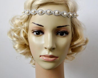 Pearls Rhinestone Bridal Great Gatsby Crystal Headband Wedding Halo Bridal tie on ribbon Bridesmaid Headpiece, 1920s Flapper headband