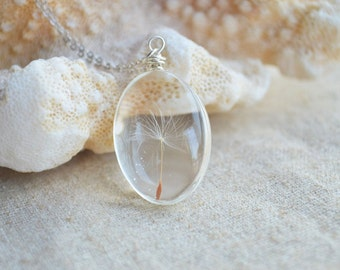Dandelion Seed Wish Real Flowers Sterling Silver Chain Choker Necklace