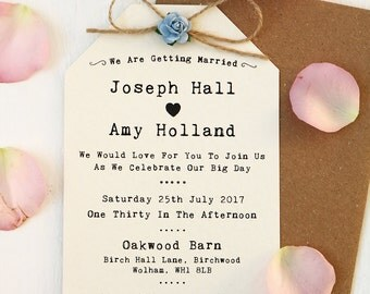 Rustic Blue Rose and Twine Bow Wedding Invitation Set - Ivory
