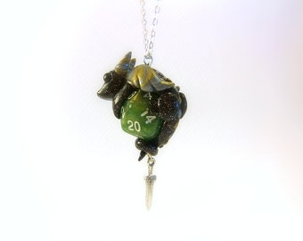 Clay Dragon D20 Dice Necklace Pendant with Tiny Sword Charm, Green, Black, Silver & Gold, Gamer Jewelry, Dungeons and Dragons, DnD, RPG