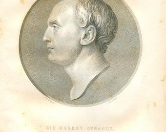Antique 1855 portrait of Sir Robert Strange, 1721–1792 Scottish engraver, Jean-Baptiste Greuze, genuine engraving by Samuel Freeman, Decor