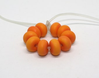 Set 10 Etched Rondelles Spacer Beads, 8 mm, 10 mm, 12 mm, Orange, Matte Donut Beads, Opaque Handmade Lampwork Glass Beads, CiM 421E