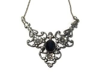Vintage Sterling Floral Iolite Necklace Neckpiece