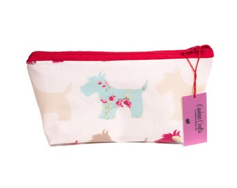 Oilcloth Make-Up Bag in Scottie Dog Print, Fully Lined, Womens Gift