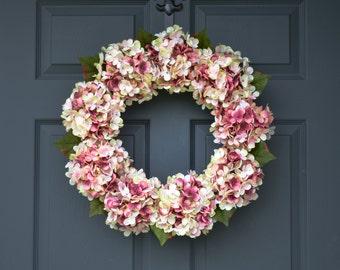 Blended Pink Hydrangea Wreath | Summer Door Wreath | Front Door Wreaths | Summer Wreath | Door Wreath | Housewarming Gift