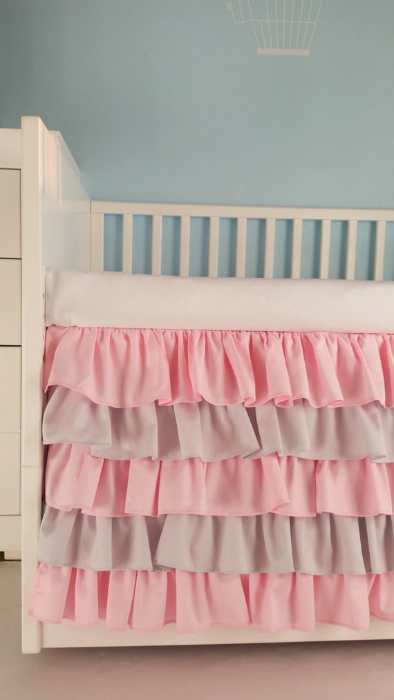 Crib Skirt Pink Gray Ruffle Girl Baby Bedding Crib Bedding