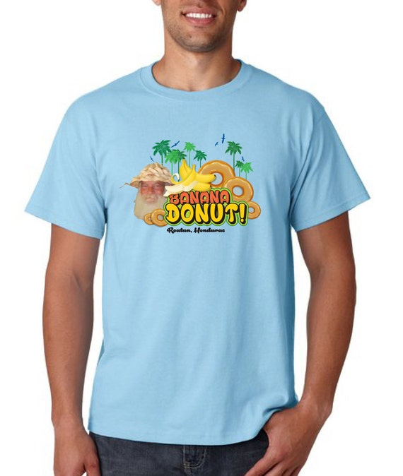 Banana donut t shirt roatan honduras beach guy selling banana for Selling shirts on etsy