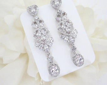 Long Bridal earrings, CZ Wedding earrings, Crystal earrings, Wedding jewelry, Vintage style earrings, Dangle earrings, Chandelier earrings