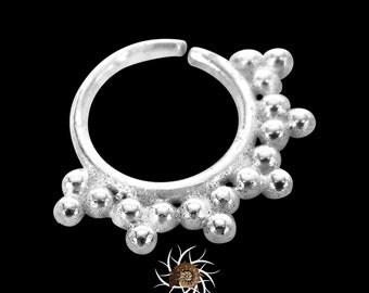 Akash Silver Septum Ring - Septum Jewelry - Septum Piercing - 18G Septum Ring - 16G Septum Ring - Indian Septum Ring - Tribal Septum (S5)