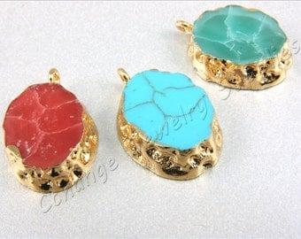 1 pc Bezel Pendant, (22mm x 15mm) Resin Bezel Pendant, Blue Bezel Pendant, Acrylic Bezel Charm, Bezel Druzy Pendant, Bezel Necklace Pendant