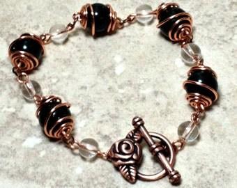 Green goldstone bracelet, Copper Bracelet, Copper Bracelet, Wire-wrapped Bracelet