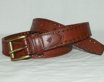 "Ralph Lauren brown leather belt / Small 27.5"" - 30.5"" / Perforated 1"" wide brown leather western belt"
