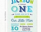 boys 1st birthday invitation, digital printable birthday party invitation little boy first birthday, our little man blue green stars wood