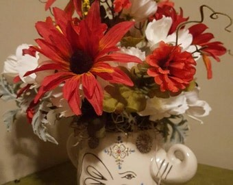 Small Flower Arrangement, Get Well Flowers, Flowers in Teacup, Elephant Planter, Ranunculus, Faux Flowers, Flowers in Coffee Mug