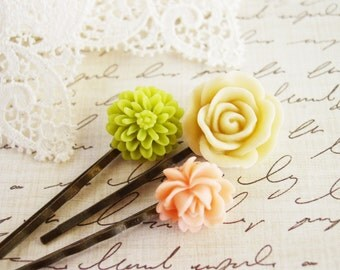 Set of Three Floral Bobby Pins; Apple Green Chrysanthemum, Cream Rose, and Pale Blush Blooming Rose Hair Pins