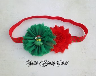Grinch headband. Grinch Christmas. Grinch party. Grinch costume. Christmas headband. Holiday headbands. Green red headband. Green headband