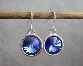 Blue Drop Earrings, Blue Dangle Earrings, Blue Chandelier Earrings, Blue Swarovski Earrings, Blue Crystal Earrings, Sapphire Earrings